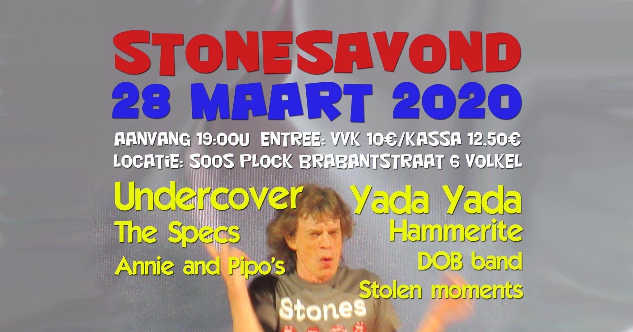 Zaterdag 28 maart Stonesavond in Soos Plock